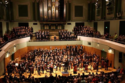 The UCD Symphony Orchestra take a bow having just performed Tchaikovsky's 1812 Overture in the National Concert Hall Dublin.