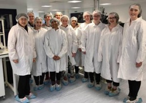 All dressed up to see the silicon detectors being made for the Large Hadron Collider in the Oxford Laboratories.