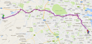 My commute route across Dublin – 46 stops later, I'm at UCD.