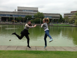 Myself and my friend Jessica enjoying our intro to UCD
