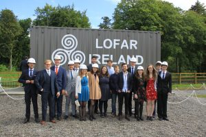 I-LOFAR build team at the opening ceremony, after wearing the hard hats for so long some of us found it difficult to take them off""