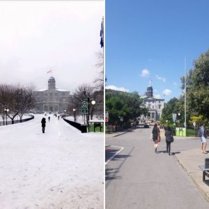 The famous McGill University arts building in the summer and winter months